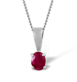 Ruby 5 x 4mm 18K White Gold Pendant Necklace