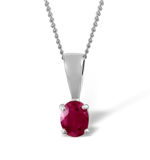 Ruby 5 x 4mm 18K White Gold Pendant - image 1