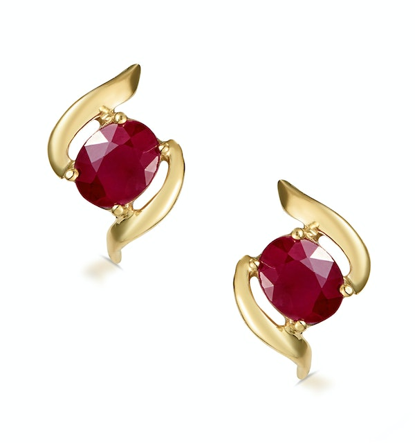 Ruby 0.73CT 9K Yellow Gold Earrings  B3275 - image 1