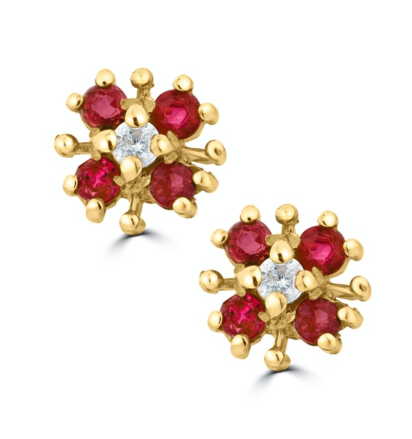 Ruby 0.40CT And Diamond 9K Yellow Gold Earrings - image 1