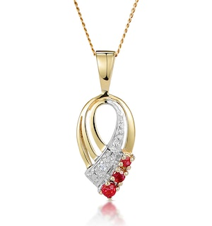 Ruby 2.25mm And Diamond 9K Yellow Gold Pendant Necklace