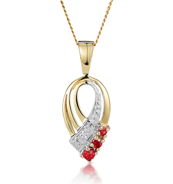 Ruby 2.25mm And Diamond 9K Yellow Gold Pendant Necklace - image 1