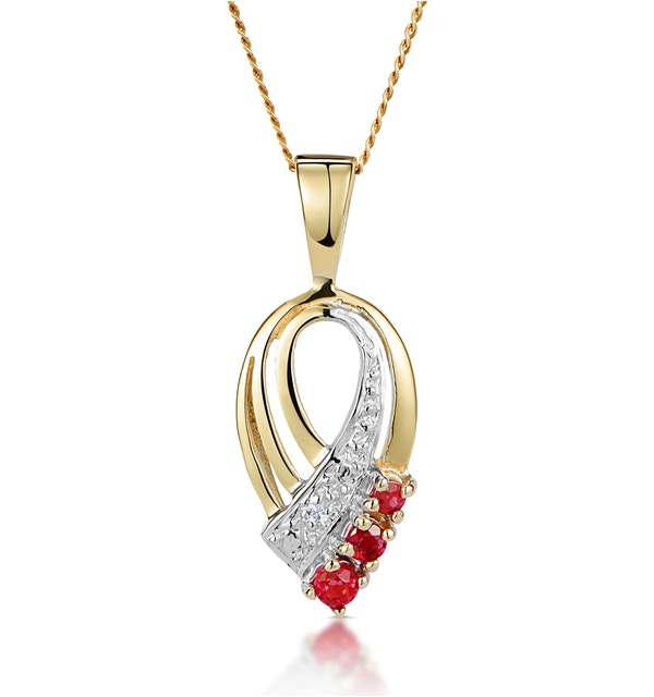 Ruby 2.25mm And Diamond 9K Yellow Gold Pendant - image 1