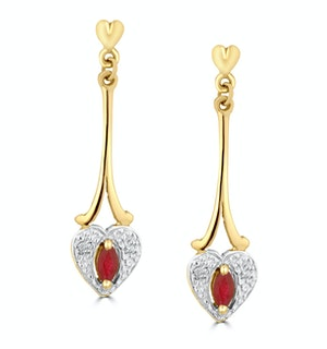 Ruby 5 x 3mm And Diamond 9K Yellow Gold Earrings