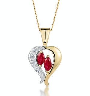 Ruby 5 x 3mm And Diamond 9K Yellow Gold Pendant Necklace