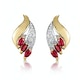 Ruby 4 x 2mm And Diamond 9K Yellow Gold Earrings - image 1