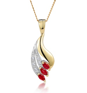 Ruby 4 x 2mm And Diamond 9K Yellow Gold Pendant Necklace