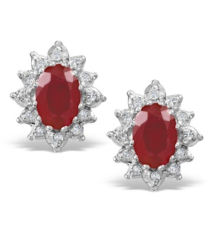 Ruby 6 x 4mm And Diamond 18K Yellow Gold Earrings  FEG25-T