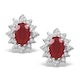 Ruby 6 x 4mm And Diamond 18K White Gold Earrings  FEG25-TY - image 1
