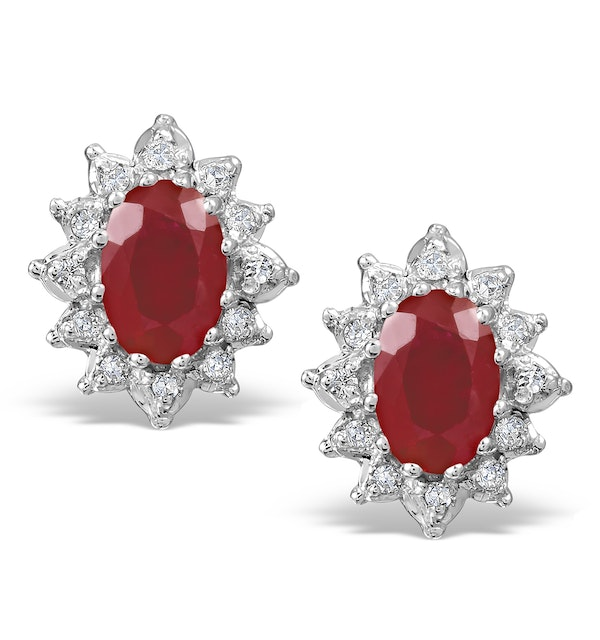 Ruby 6 x 4mm And Diamond Cluster 9K Yellow Gold Earrings - image 1