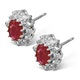 Ruby 6 x 4mm And Diamond 18K White Gold Earrings  FEG25-TY - image 2