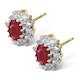 Ruby 6 x 4mm And Diamond 18K Yellow Gold Earrings  FEG25-T - image 2
