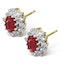 Ruby 6 x 4mm And Diamond Cluster 9K Yellow Gold Earrings - image 2