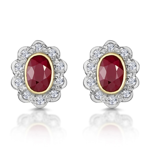 Ruby 6 x 4mm And Diamond 9K Yellow Gold Earrings  B3293 - image 1