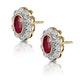 Ruby 6 x 4mm And Diamond 9K Yellow Gold Earrings  B3293 - image 2