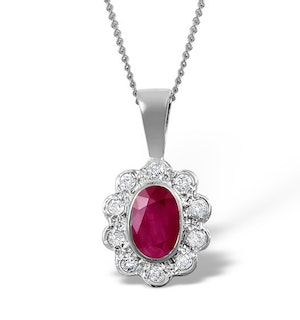 Ruby 6 x 4mm And Diamond 9K White Gold Pendant Necklace