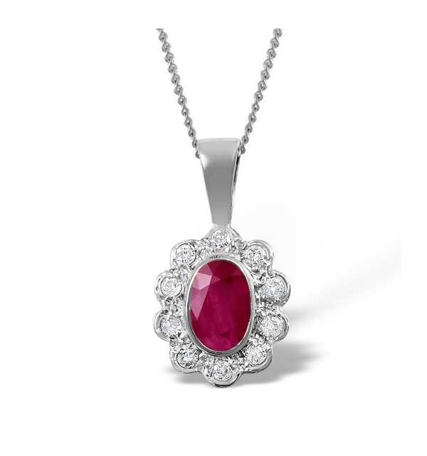 Ruby 6 x 4mm And Diamond 18K White Gold Pendant Necklace FER26-TY - image 1