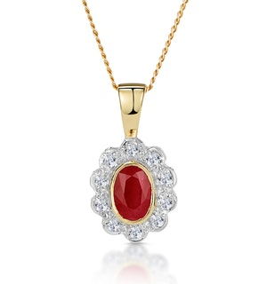 Ruby 6 x 4mm And Diamond 9K Yellow Gold Pendant Necklace B3294