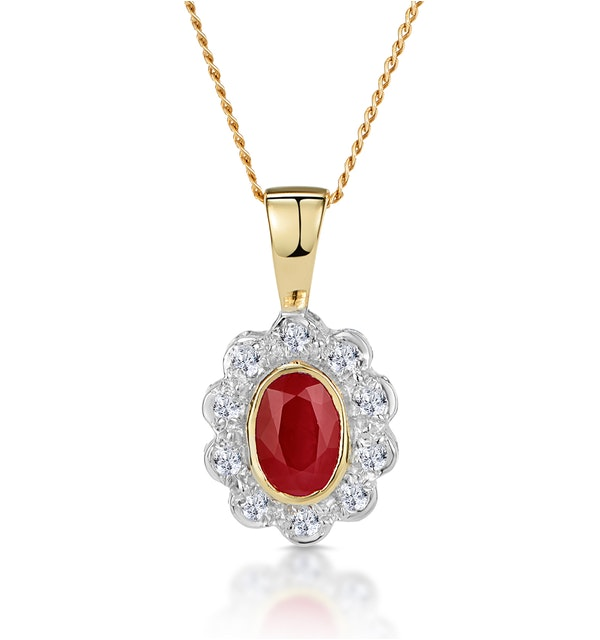 Ruby 6 x 4mm And Diamond 9K Yellow Gold Pendant Necklace B3294 - image 1
