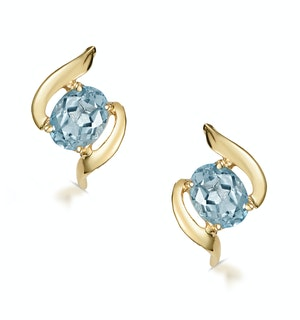 Blue Topaz 5 x 4mm 9K Yellow Gold Earrings