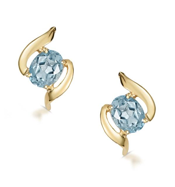 Blue Topaz 5 x 4mm 9K Yellow Gold Earrings - image 1