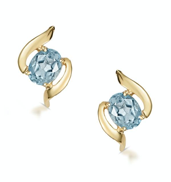 Blue Topaz 5 X 4mm 9k Yellow Gold Earrings
