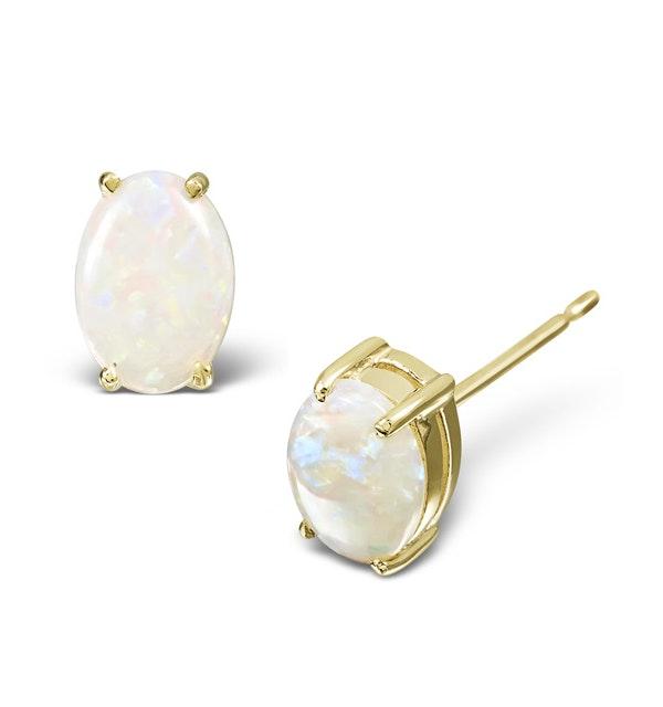 Opal 7 x 5mm 18K Yellow Gold Earrings - image 1