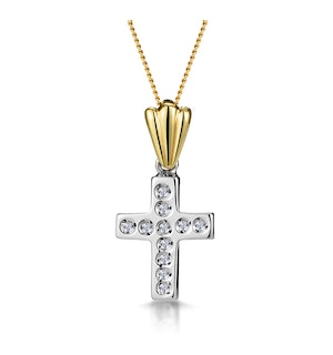 Diamond Studded Cross Necklace in 9K White Gold