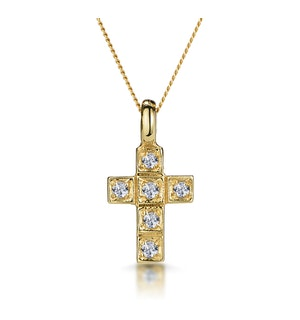 Diamond Studded Small Filigree Cross Necklace in 9K Gold