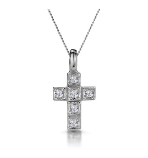 Diamond Studded Small Filigree Cross Necklace in 9K White Gold