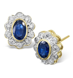 Sapphire 6mm x 4mm And Diamond 9K Yellow Gold Earrings  B3430