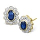 Sapphire 6mm x 4mm And Diamond 18K Yellow Gold Earrings  FEG28-U - image 1
