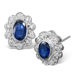 Sapphire 6mm x 4mm And Diamond 18K White Gold Earrings  FEG28-UY