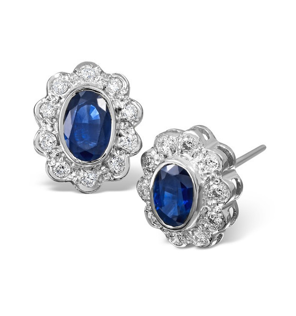Sapphire 6mm x 4mm And Diamond 9K White Gold Earrings - image 1
