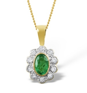 Emerald 6 x 4mm And Diamond 9K Yellow Gold Pendant Necklace