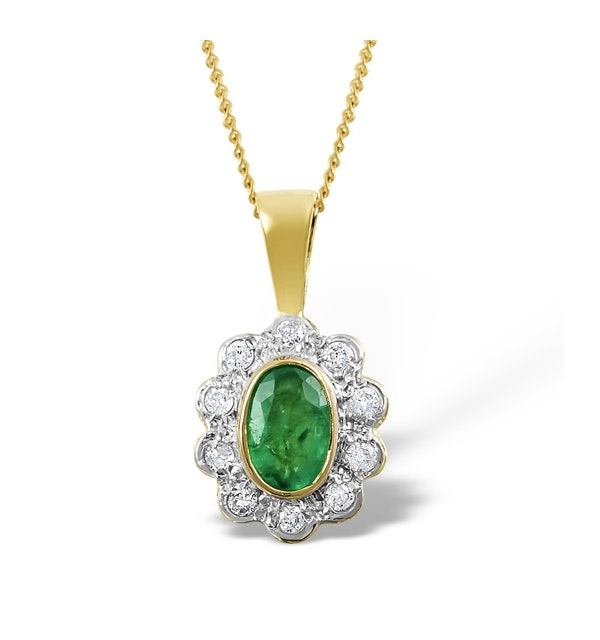 Emerald 6 x 4mm And Diamond 18K Yellow Gold Pendant Necklace FER26-G - image 1