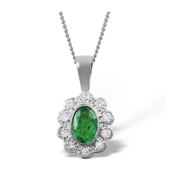 Emerald 6 x 4mm And Diamond 18K White Gold Pendant Necklace FER26-GY - image 1