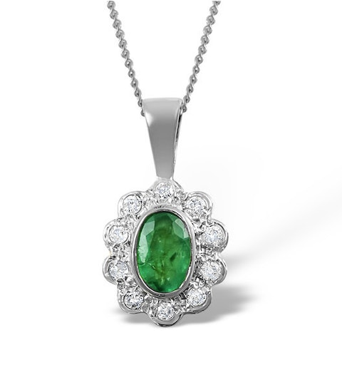 Emerald 6 x 4mm And Diamond 18K White Gold Pendant FER26-GY - image 1