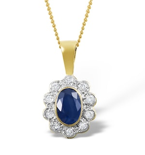 Sapphire 6 x 4 mm And Diamond 9K Yellow Gold Pendant Necklace