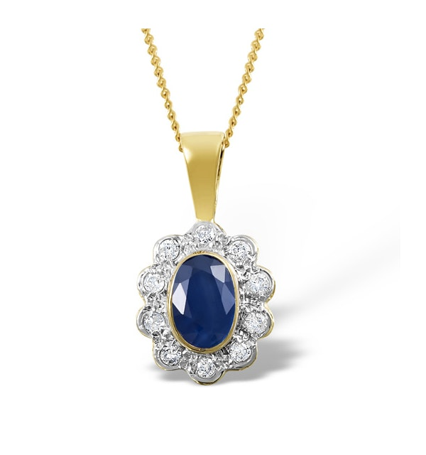 Sapphire 6 x 4mm And Diamond 18K Yellow Gold Pendant Necklace FER26-U - image 1