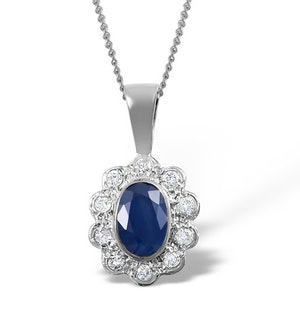 Sapphire 6 x 4mm And Diamond 18K White Gold Pendant Necklace FER26-UY