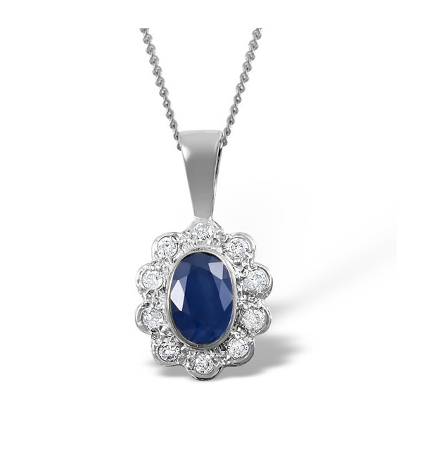 Sapphire 6 x 4mm And Diamond 18K White Gold Pendant Necklace FER26-UY - image 1