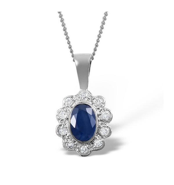 Sapphire 6 x 4mm And Diamond 18K White Gold Pendant FER26-UY - image 1
