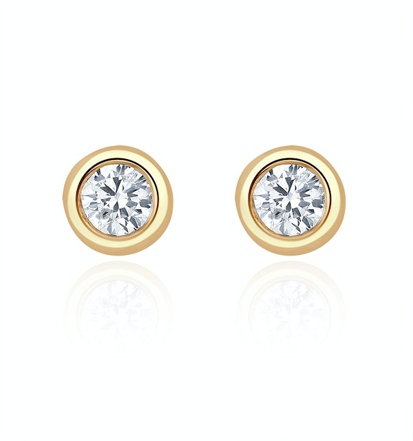Stud Earrings 0.20CT Diamond 9K Yellow Gold - image 1
