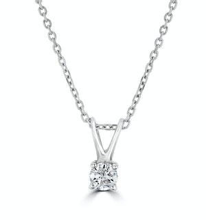 Diamond Solitaire Necklace 0.10CT Diamond 9K White Gold