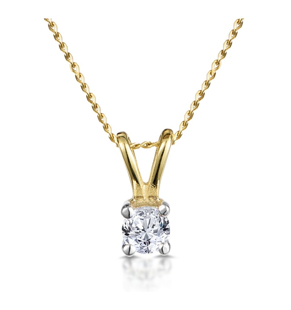 Diamond Solitaire Necklace 0.15CT Diamond 9K Yellow Gold - image 1