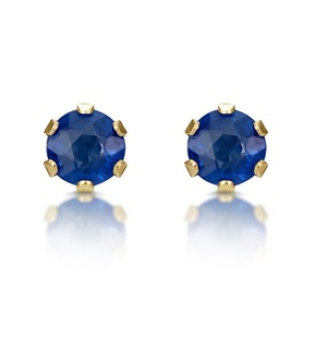 Sapphire 3mm 9K Yellow Gold Earrings