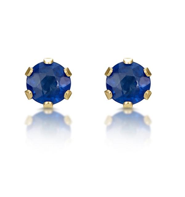 Sapphire 3mm 9K Yellow Gold Earrings - image 1
