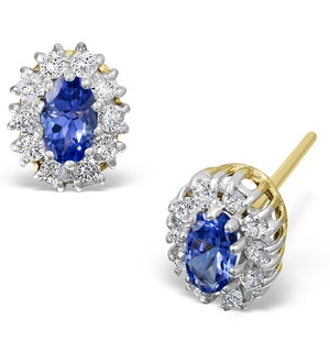 Tanzanite 5 x 3mm And Diamond 18K White Gold Earrings