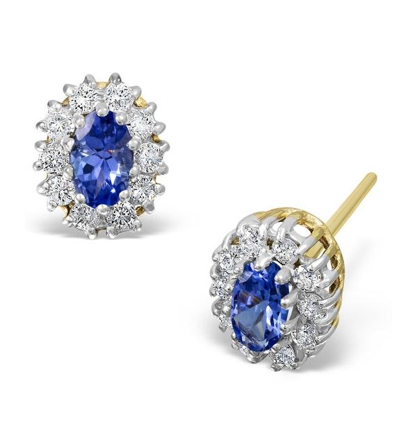 Tanzanite 5 x 3mm And Diamond 18K White Gold Earrings - image 1